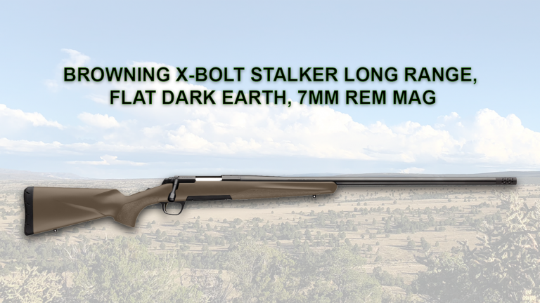 Threaded for suppressor with detachable muzzle brake 26-inch heavy-sporter barrel, hand-chambered and target crown 1:8-inch twist rate Flat dark earth composite stock RMEF logo on grip cap Rifle is currently not in production making RMEF events the only place it is available for purchase